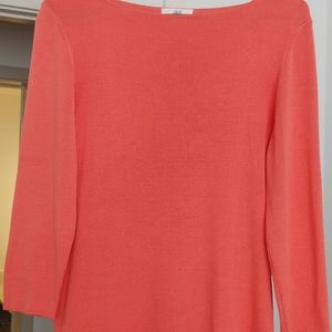 Brooks Brothers coral silk top. Boat neckline.